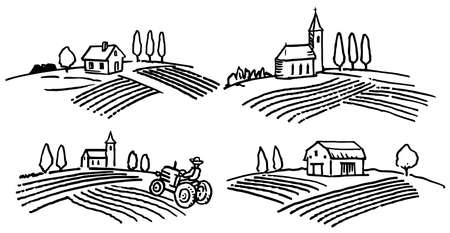 Set of hand drawn agricultural landscapes illustration. Ilustração