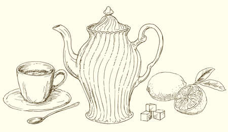 Vintage teapot and cup of tea with lemon. Illustration