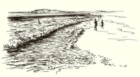 열 대 해변입니다. 손으로 그린 그림입니다. 일러스트