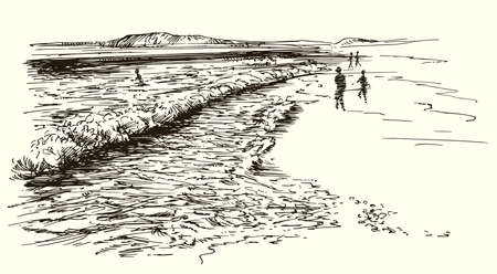 Tropical beach. Hand drawn illustration. Illustration