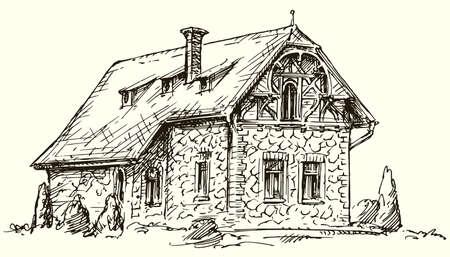 오래 된 영어 전통적인 돌 집입니다. 손으로 그린 된 벡터 일러스트 레이 션. 일러스트