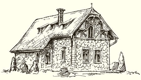 Old English traditional stone house. Hand drawn vector illustration.