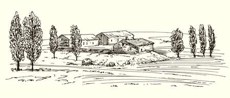 Rural landscape with houses and meadow illustration.