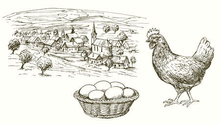 Hen, chicken, eggs in basket, rural village.