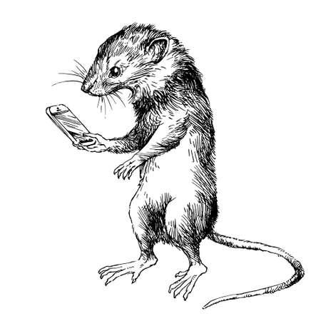 Zabawna mysz patrząc na telefon. Ręcznie rysowane ilustracja.