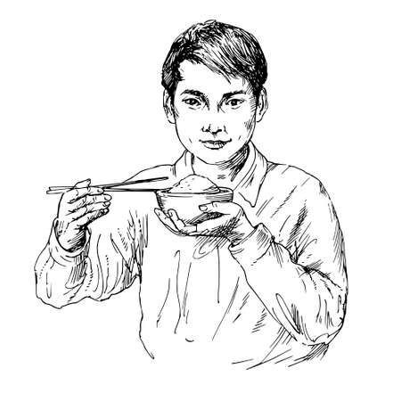 Young asian man eating rice with chopsticks. Illustration