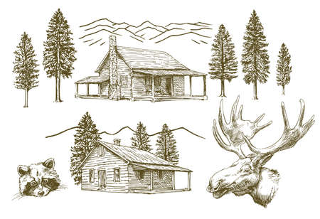 Hand drawn wooden cabin