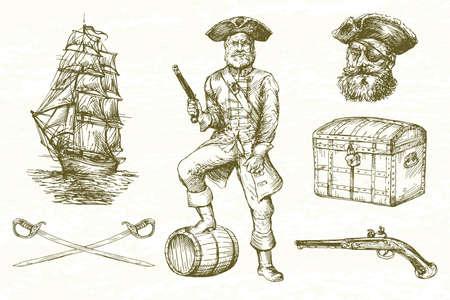 Pirate, hand drawn set.