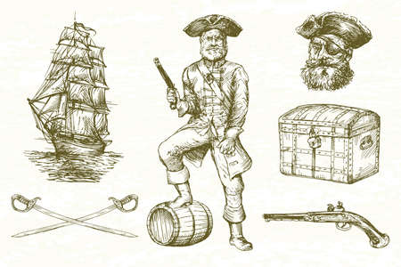 Pirate, hand drawn set.