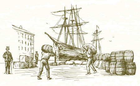 Vintage harbor. Hand drawn illustration.
