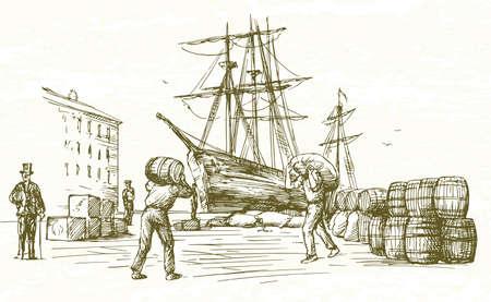 Puerto de la vendimia. Dibujado a mano ilustración.