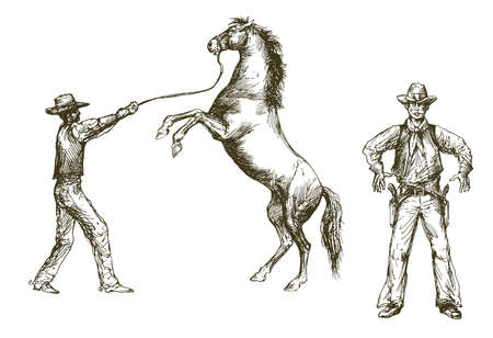 Wild west, cowboy and horse, cowboy with gun.
