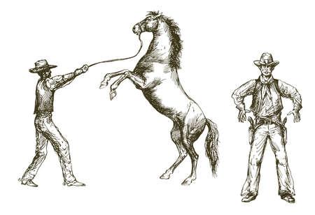 Salvaje oeste, vaquero y caballo, vaquero con pistola. Ilustración de vector