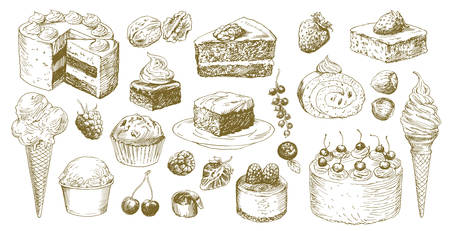 Big set of hand drawn cakes. 矢量图像