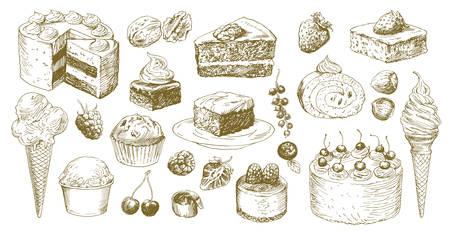 Grand ensemble de gâteaux dessinés à la main.