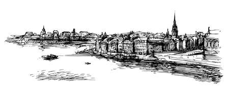 Stockholm. Hand drawn illustration. Иллюстрация