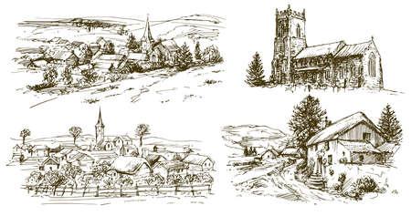Pueblo de campo inglés. Conjunto dibujado a mano.