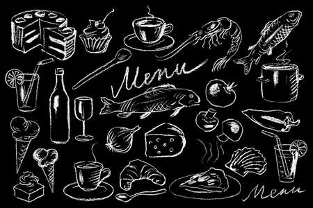 Menu illustration on chalkboard