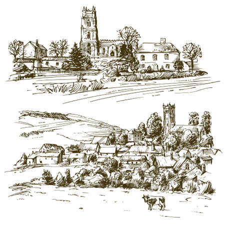 English country village. Hand drawn set.
