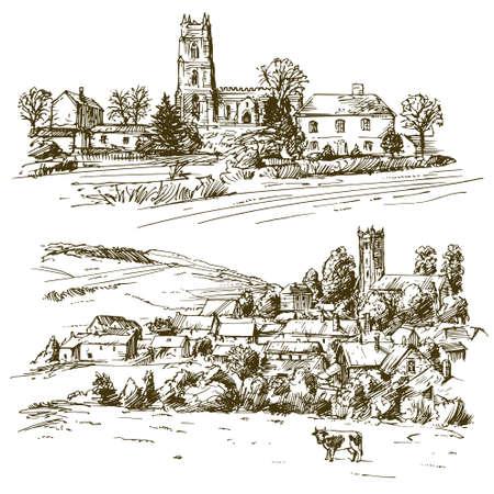 English country village. Hand drawn set. 版權商用圖片 - 102892340