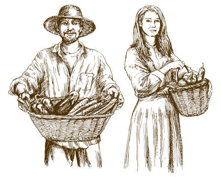 Gardener, basket of harvested vegetables. Hand drawn illustration.