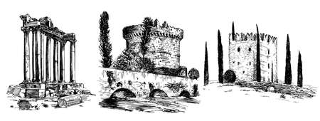 Set of romantic Italian castles and monuments. Hand drawn set Illustration