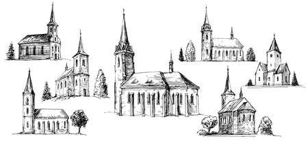 Costruzione della chiesa cristiana, set di illustrazione vettoriale disegnata a mano.