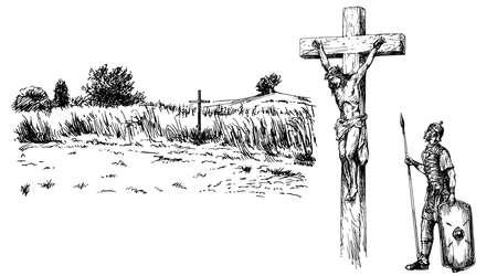 Gesù Cristo crocifisso. Insieme disegnato a mano. Vettoriali