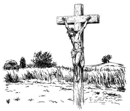Jezus Christus gekruisigd.