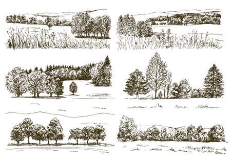 Conjunto de paisajes románticos.