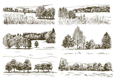 Reihe romantischer Landschaften.