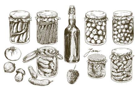 Gläser mit eingelegtem Gemüse und Früchten. Vektorgrafik