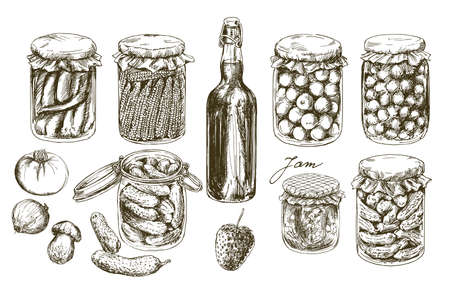 Jars with pickled vegetables and fruits.