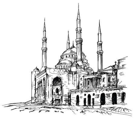 Mezquita de Mohammad Al-Amin en Beirut, Líbano. Ilustración de vector