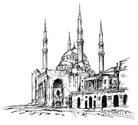 Mohammad Al-Amin-moskee in Beiroet, Libanon. Vector Illustratie