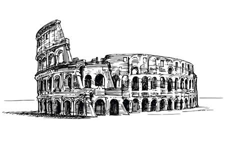 Colosseum, Rome, Italy. Hand drawn illustration.