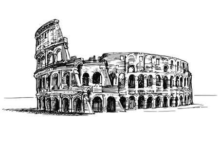 Koloseum, Rzym, Włochy. Ręcznie rysowane ilustracja.