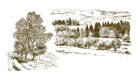 Paysage rural. Ensemble dessiné à la main. Vecteurs