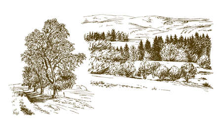 Rural landscape. Hand drawn set.