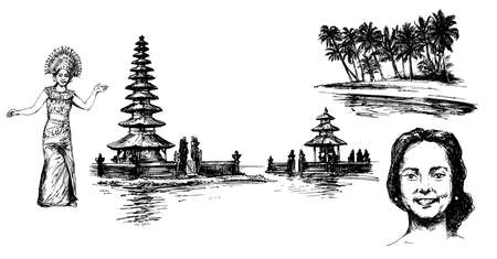 Bali, Indonesia. Stock Illustratie