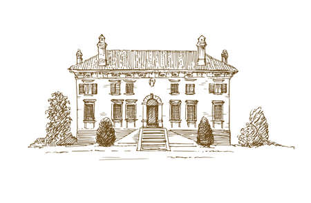 Renaissance Italian Villa. 矢量图像