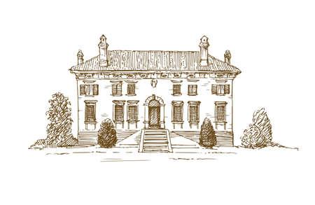 Renesansowa willa włoska. Ilustracje wektorowe