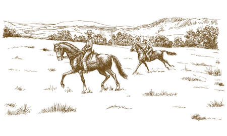 Horse riders in a green field. Illustration