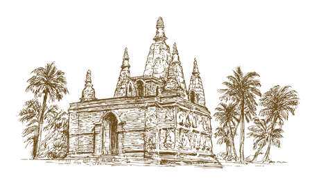 Buddhist forest temple. Ilustrace