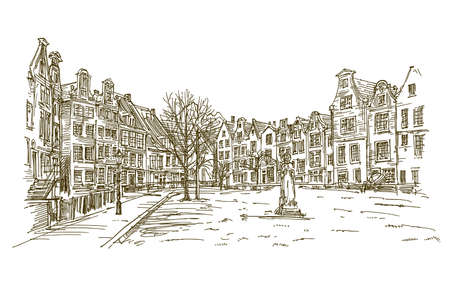Amsterdam houses. Buildings standing in row. Hand drawn illustration.