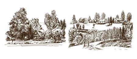 Rural landscape. Hand drawn set. Ilustrace