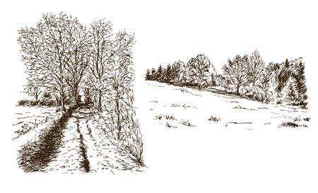 Paesaggio rurale. Insieme disegnato a mano. Vettoriali