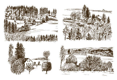 Rural landscape. Hand drawn set. Illustration