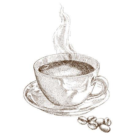 Cup of coffee. Hand drawn illustration.  イラスト・ベクター素材
