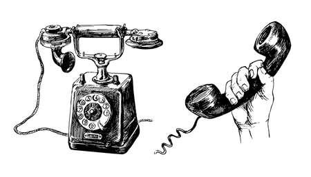Vintage telephone, hand drawn set.